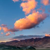 Pink clouds hover above the Hanle monastery.