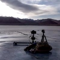 Shooting time-lapse videos on the frozen Hanle river
