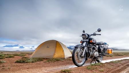 Snowy morning on the Royal Enfield campsite