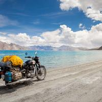 Royal Enfield on shores of the Pangong Lake near Merak