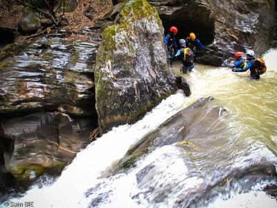 Negotiating a tricky waterfall - Canyoning in Manali.