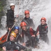 A group shot after Canyoning with the Extreme Canyoning team.