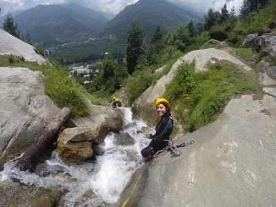 Canyoning in the beautiful settings of Manali.