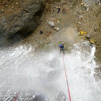 Canyoning down a waterfall in Manali