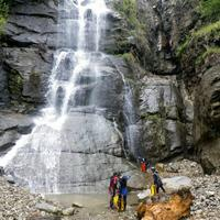 Canyoning at a beautiful waterfall near Vashist, Manali