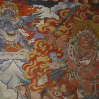 Mural paintings on the walls of the Gantey Gompa in central Bhutan.