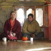 Having tea with the lama at the Sengor monastery