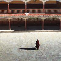 A lone monk walking across the Hemis monastery courtyard.