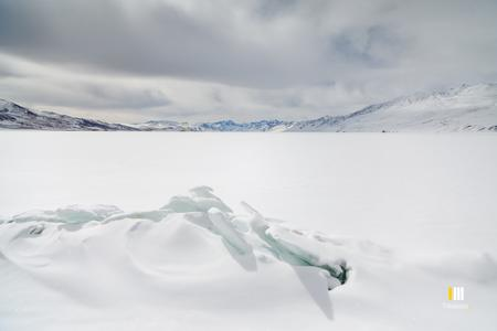 Weird and wonderful ice formations on the frozen Tsomoriri lake.