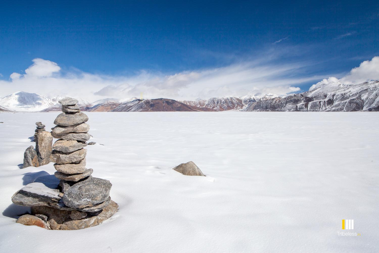 The frozen expanse of the Pangong lake.