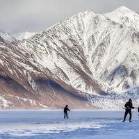 Playing Ice Hockey on the frozen Pangong lake.
