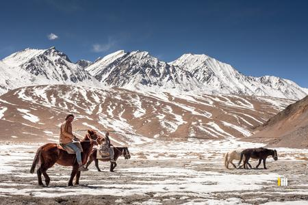 Changa horsemen at the Pangong lake
