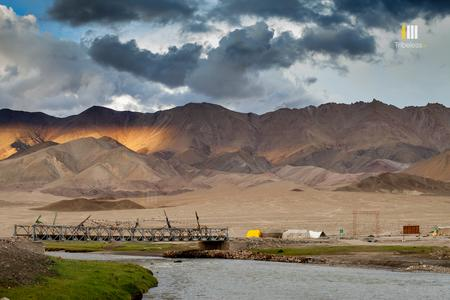 Golden light between the shadows in Hanle, Ladakh