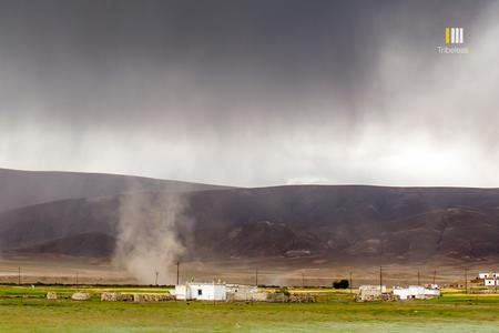 Strong winds whipping up a mini tornado at Hanle.