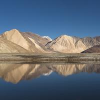 Pangong Lake reflections near Lukung