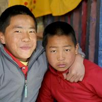 Two young monks at the Sengor Monastery, Bhutan