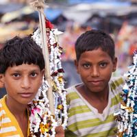Young vendors at Har-ki-pauri. Haridwar.
