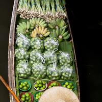 Overhead view of a banana/lemon vendor at the Damnoen Saduak Floating Market, Bangkok