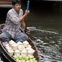 Coconut Express : A floating coconut vendor at the Damnoen Saduak Floating Market, Bangkok.
