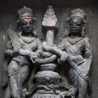 Stone sculptures at the Laxmi Narayan temple complex in Chamba, Himachal Pradesh.
