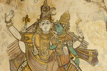 Beautiful frescos on the walls of the Tanjore Big Temple.