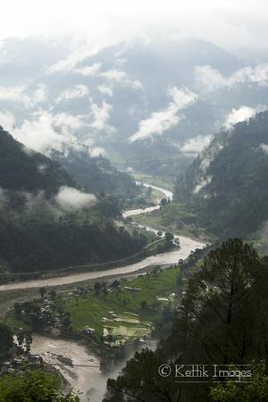 The winding Ganges river flowing past the Netala village in Uttarkashi