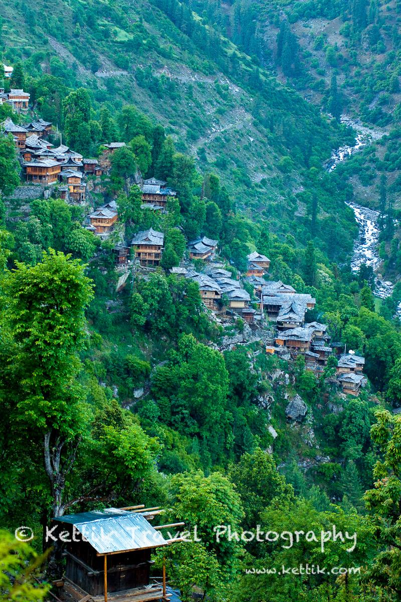 The beautiful hanging village of Jakha with the Rupin flowing below in the background.