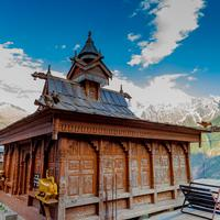 The Narayan-Nagini temple temple at Kalpa with the Kinner Kailash range in the background.
