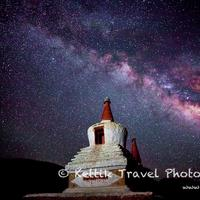 A starry night in Ladakh with the Milkyway galaxy seen clearly across the night sky.