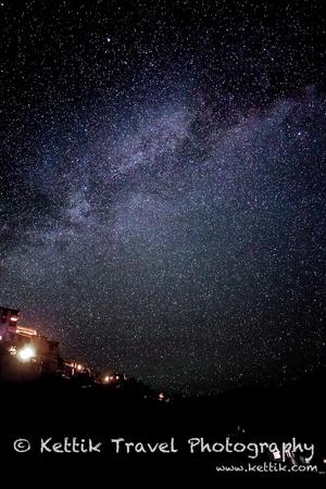 Countless starts glittering in the night skies above the Thekchhok monastery in Ladakh.