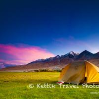 A beautiful sunset in paradise. Camping in the Merak village on the banks of the Pangong lake.