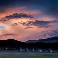 Colorful sunset over the Himalayan Gamma Ray Observatory (HiGRO) at Hanle.