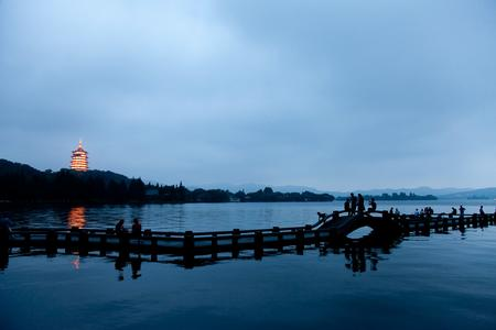 Twilight over the Hangzhou Lake.
