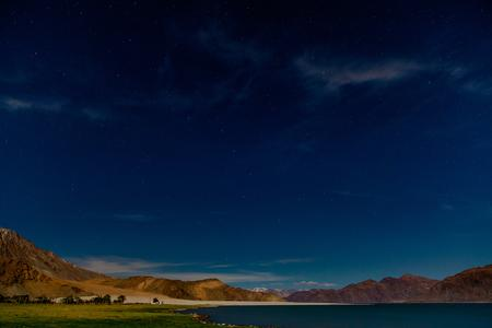 A moonlit night at the Pangong Lake.