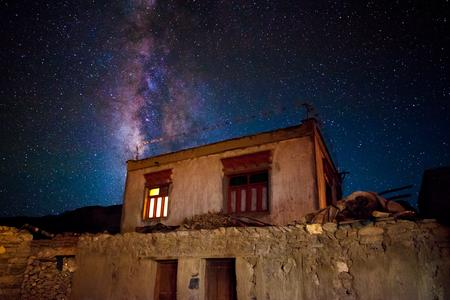 Milky way galaxy visible in the night sky above the Korzok village.